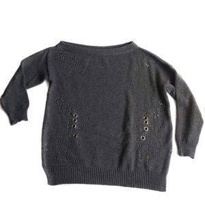 John + Jenn Chunky Knit Grommet Sweater Gray XL